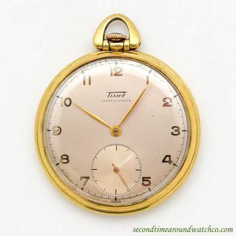 1940's Vintage Tissot Pocket Watch Yellow Gold Plated Watch