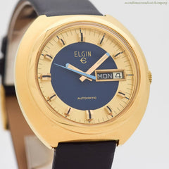 1970's era Elgin Automatic Day-Date Base Metal & Stainless Steel Watch