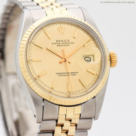 1973 Vintage Rolex Datejust Ref. 1601 14k Yellow Gold & Stainless Steel Watch