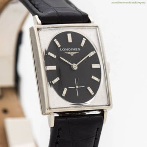 1966 Vintage Longines Rectangular-shaped 10k White Gold Filled Watch