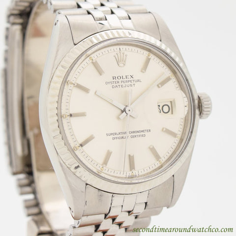 1972 Vintage Rolex Datejust 14k White Gold & Stainless Steel Watch