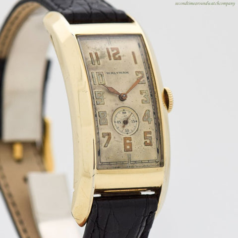 1935 Vintage Waltham Oversized Curvex 10k Yellow Gold Filled Watch