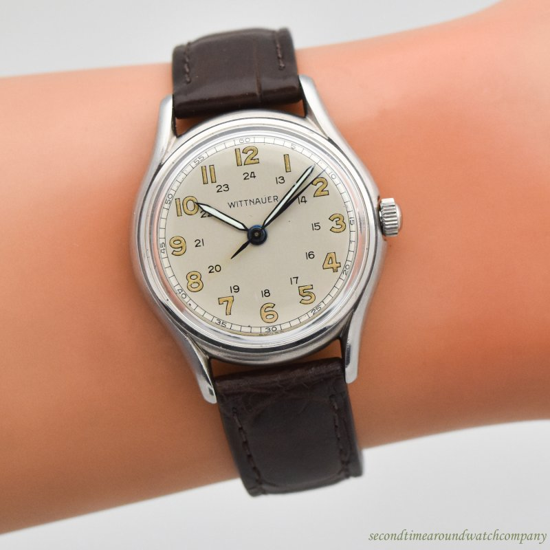 1950's Vintage Wittnauer Military Stainless Steel Watch