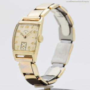 1949 Vintage Elgin Rectangular-shaped 14k Yellow Gold Filled Watch