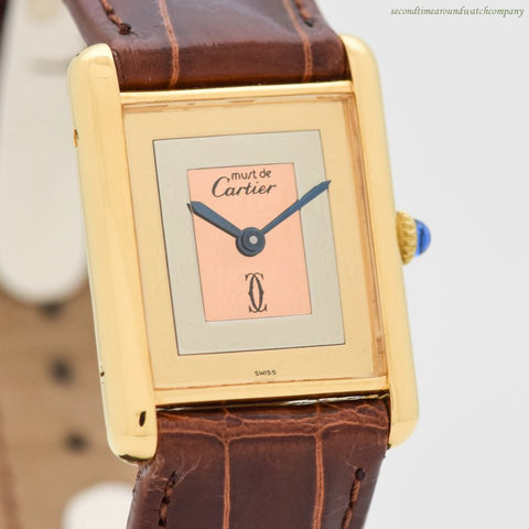 1980's era Cartier Tank Must De Men's Sized 18k Yellow Gold Plated Watch