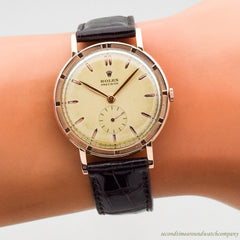 1953 Vintage Rolex Precision Ref. 4325 14k Rose Gold & Stainless Steel Watch