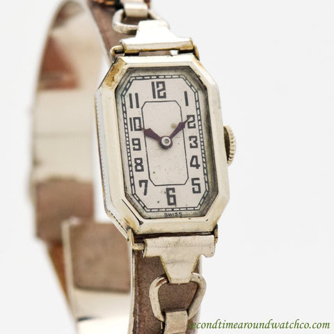 1930's Vintage Jules Racine & Co. 10k White Gold Filled Watch