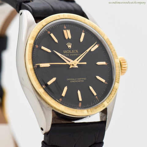 1953 Vintage Rolex Oyster Perpetual Ref. 6084 14k Yellow Gold & Stainless Steel Watch