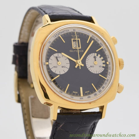 1960's Vintage Glycine 2 Register Chronograph Yellow Gold Filled Watch
