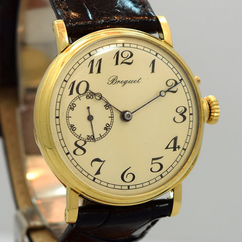 1920's Breguet Pocket Watch To Wristwatch Conversion Yellow Gold, 18k