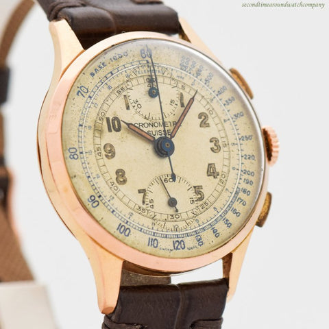 1940's Vintage Cronometre Suisse 2-Register Chronograph 18k Rose Gold Watch