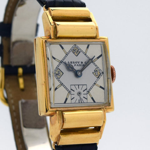 1930's Vintage L. Leroy & Cie A Paris 18k Yellow Gold Watch