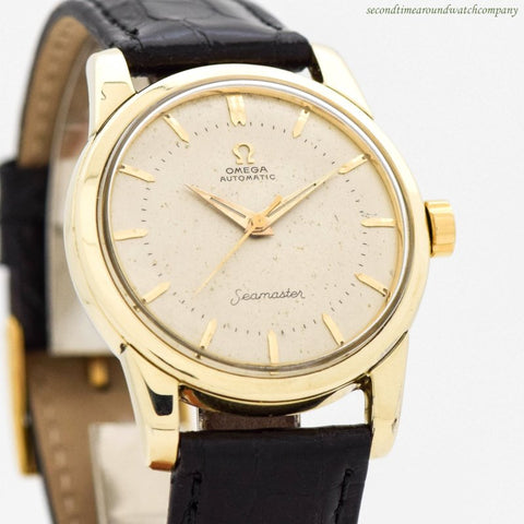 1958 Vintage Omega Seamaster Ref. 2846-3-SC 14k Yellow Gold Shell Over Stainless Steel Watch