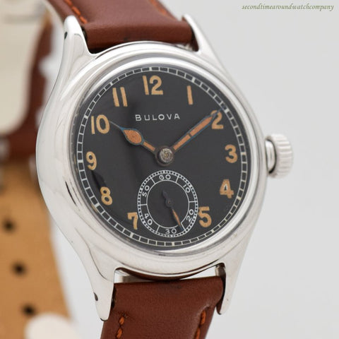 1944 Vintage Bulova WWII-era Military Chrome & Stainless Steel Watch