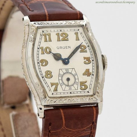 1930's Vintage Gruen 14k White Gold Filled Watch