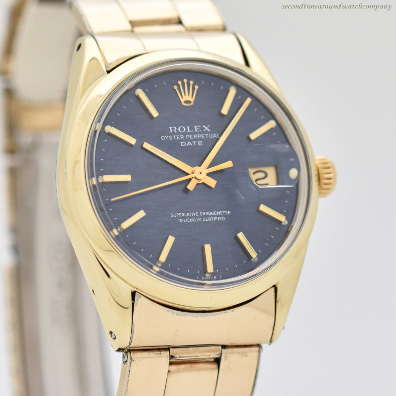 1969 Vintage Rolex Date Automatic Reference 1550 14k Yellow Gold Shell Over Stainless Steel Watch