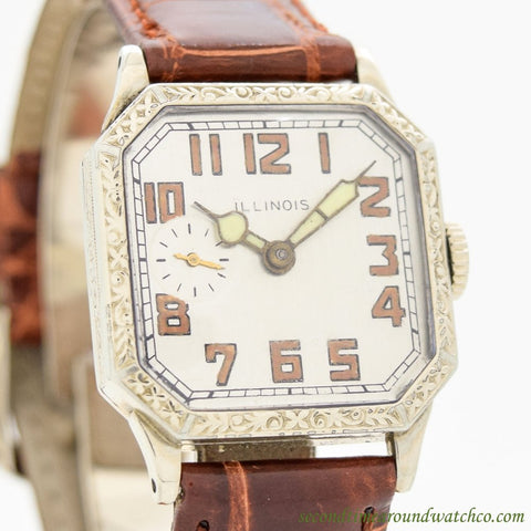 1927 Vintage Illinois White Gold Filled Watch