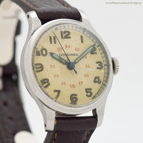 1944 Vintage Longines WWII Military Chrome & Stainless Steel Watch