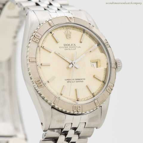 1967 Vintage Rolex Thunderbird Datejust Ref. 1625 14k White Gold & Stainless Steel Watch