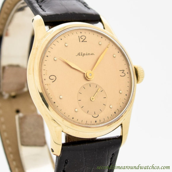 1950's Vintage Alpina 14k Yellow Gold Watch (# 11176)