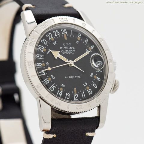 1950's-60's era Glycine Airman Special Stainless Steel Watch