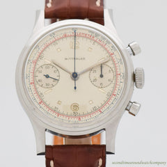 1960's Vintage Wittnauer 2-Register Chronograph Stainless Steel Watch
