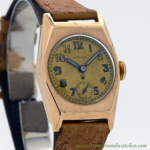 1930's Vintage Rolex Unicorn Rose Gold, 9kt. Watch