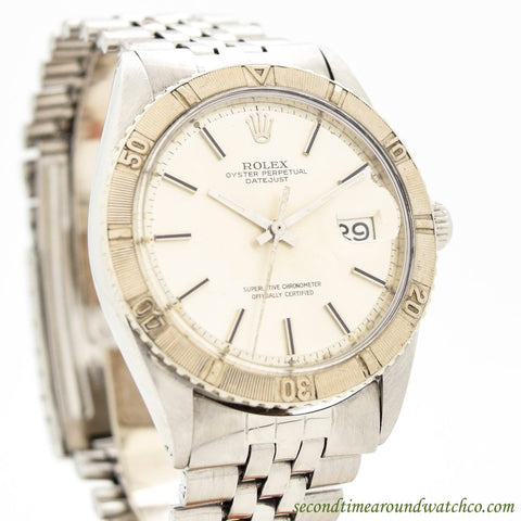 1968 Men's Vintage Rolex Thunderbird Datejust 14k White Gold & Stainless Steel