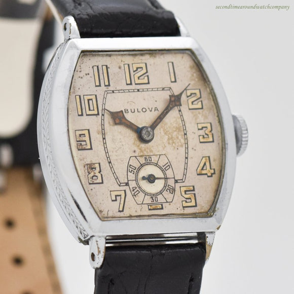 1930 Vintage Bulova Tonneau-shaped Nickle Watch