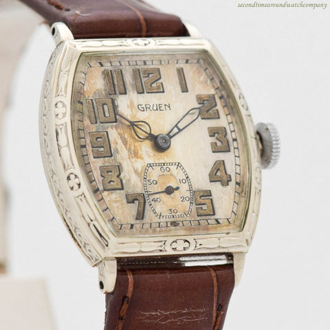 1929 Vintage Gruen 14k White Gold Filled Watch