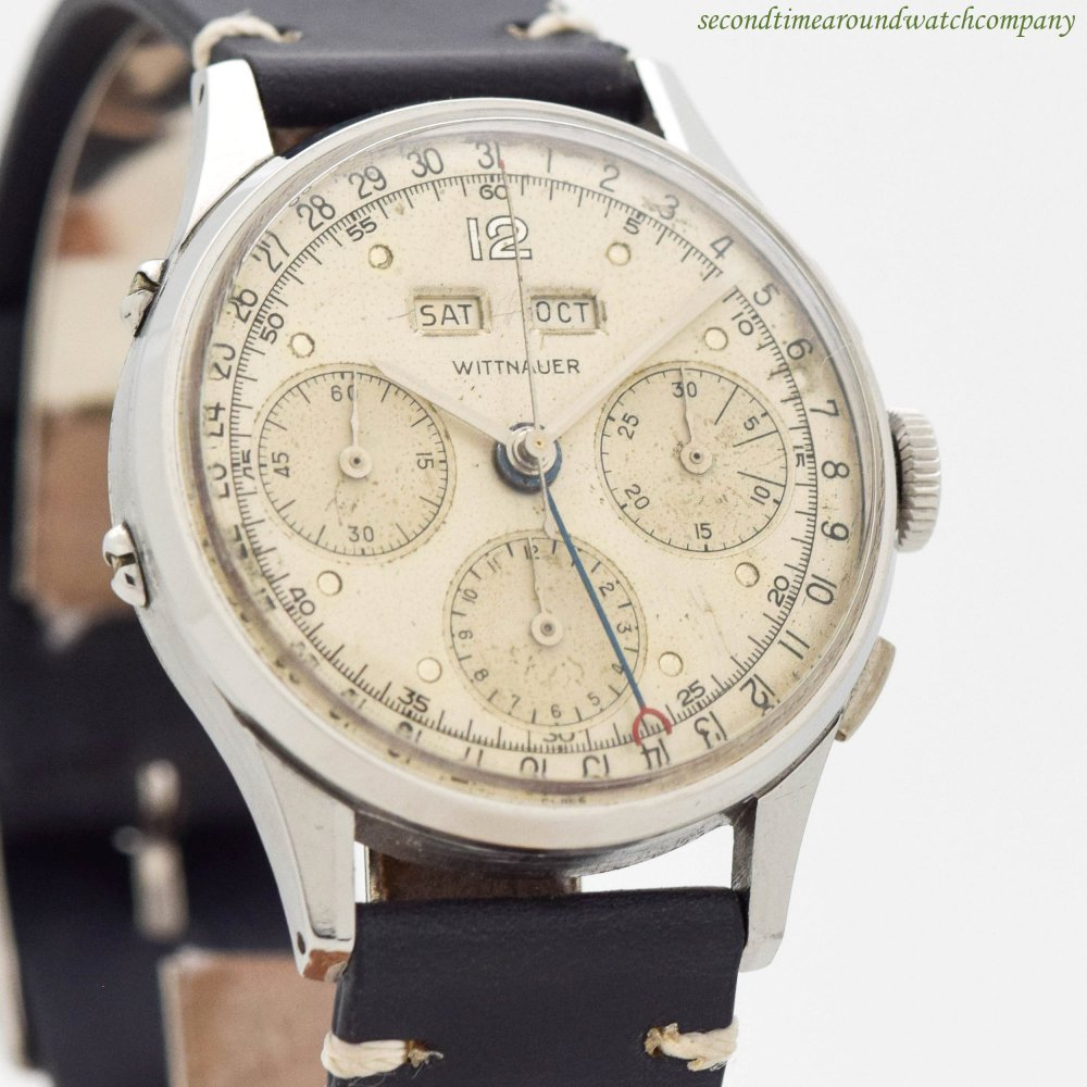 1950's Vintage Wittnauer Triple Date 3-Register Chronograph Stainless Steel Watch