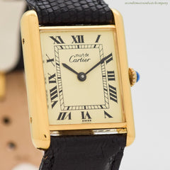 1990's era Cartier Tank Must De Men's Sized 18k Yellow Gold Plated Over Sterling Silver Watch