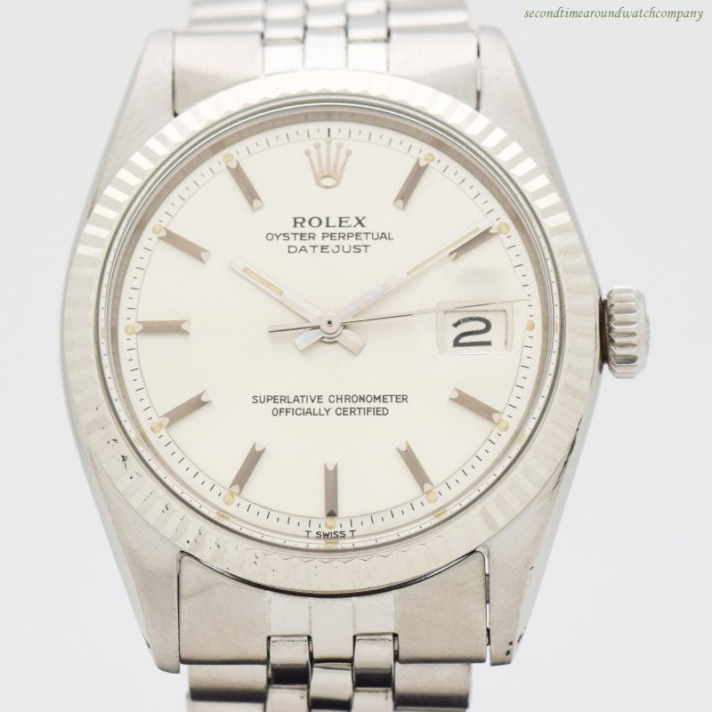 1970 Vintage Rolex Datejust Reference 1601 14k White Gold & Stainless Steel Watch