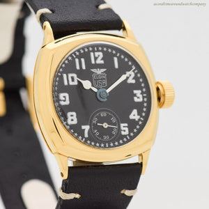 1928 Vintage Elgin Military Post WWI-era Yellow Gold Filled Watch