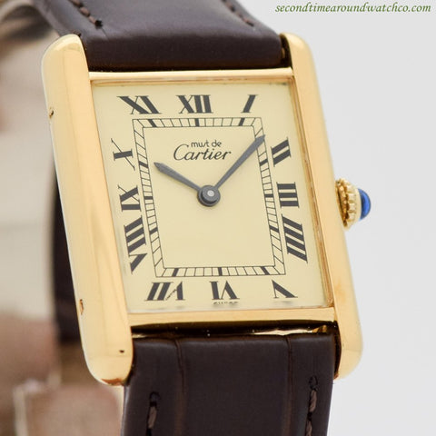 1990's Cartier Tank Must De 18k Yellow Gold Plated Men's Sized Watch