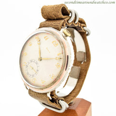 1930's Vintage Doxa Pocket Watch Conversion To Wrist Watch 14k Rose Gold & Stainless Steel Watch