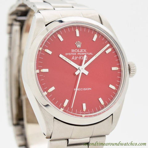 1987 Rolex Air-king Ref. 1002 Stainless Steel Watch With a Custom Red Dial