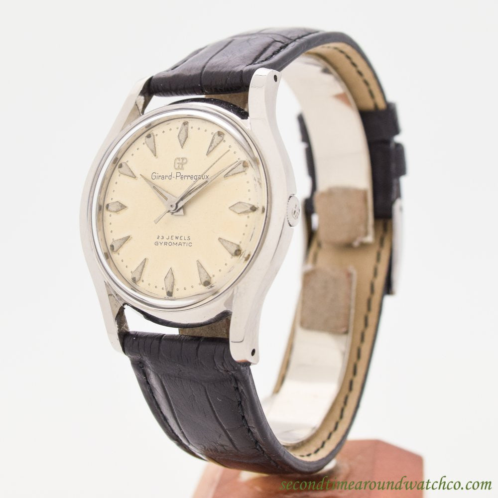 1960's Vintage Girard Perregaux Gyromatic Stainless Steel Watch