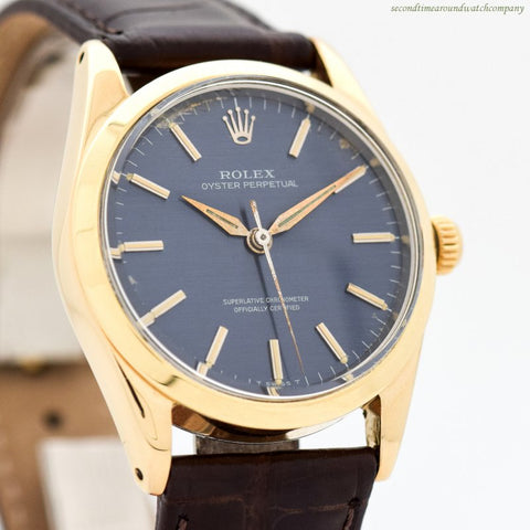 1957 Vintage Rolex Oyster Perpetual Ref. 1014 14k Yellow Gold Shell & Stainless Steel Watch