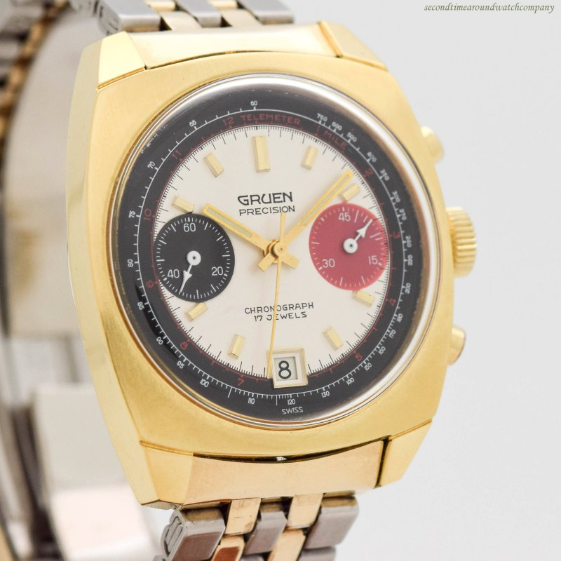 1960's era Gruen 2 Register Chronograph 16k Yellow Gold Plated & Stainless Steel Watch