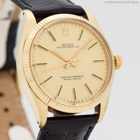 1976 Vintage Rolex Oyster Perpetual Reference 1005 14k Yellow Gold Watch