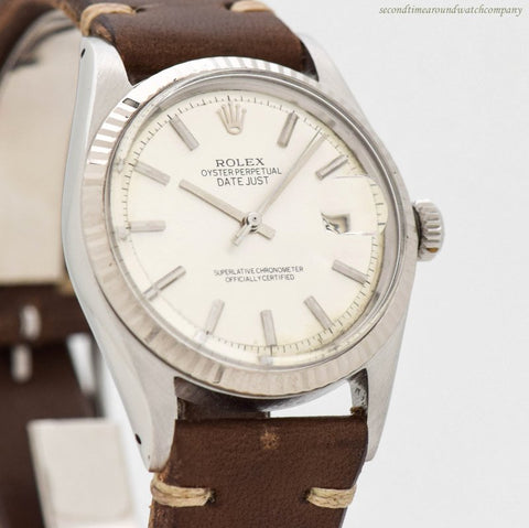 1968 Vintage Rolex Datejust Ref. 1601 18k White Gold & Stainless Steel Watch