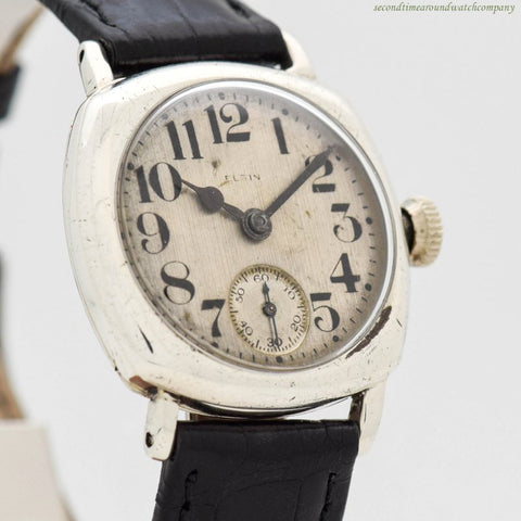 1932 Vintage Elgin Cushion-shaped Sterling Silver Watch