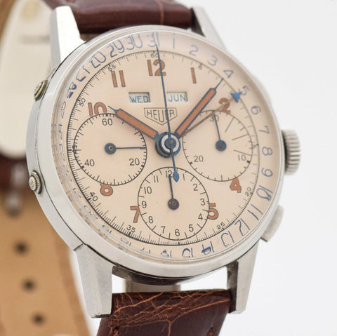 G. Vintage Chronograph  Heuer Triple Date 3-register Chrono Stainless Steel