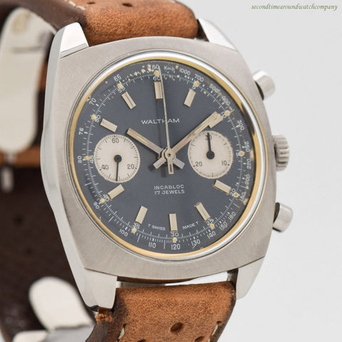 1960's-70's Vintage Waltham 2-Register Stainless Steel Chronograph Watch