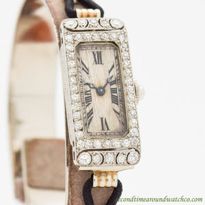 1919 Vintage C. H. Meylan Ladies Platinum & Diamonds Watch