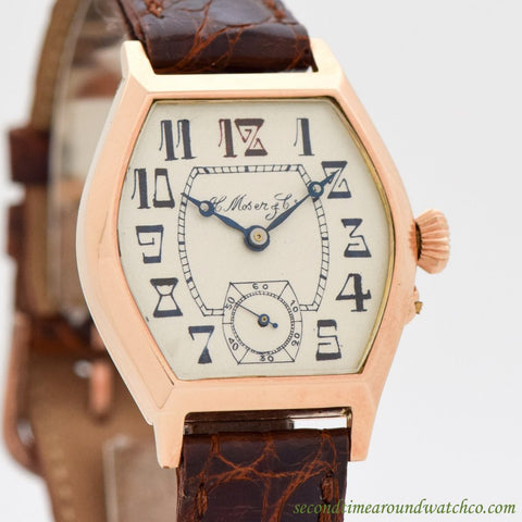 1915 Vintage H. Moser & Cie 14K Rose Gold Watch
