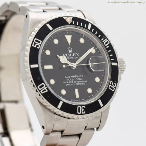 1987 Vintage Rolex Submariner Reference 168000 Stainless Steel Watch