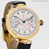 1920's Vintage Gander Watch Co. 2-Register Chronograph 18k Yellow Gold Watch (# 11505)