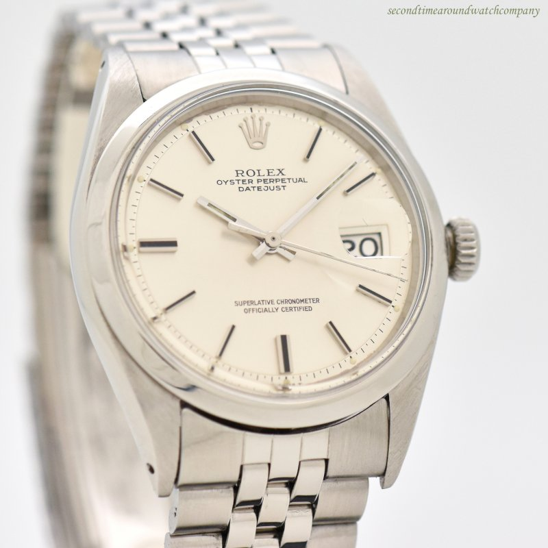 1971 Vintage Rolex Datejust Reference 1600 Stainless Steel Watch